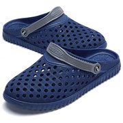 Men Hollow Out Breathable Casual Slippers Flat Slip On Beach Sandals