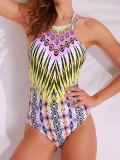 Retro Printed Backless Criss-cross Back Halter One Pieces Swimwear For Women