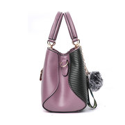 Women Stitching Color Fur Ball Handbag Tote Bag Crossbody Bag