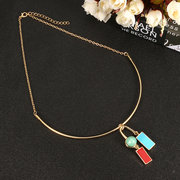 JASSY Trendy Gold Plated 3 Colors Enamel Copper Necklace