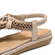 LOSTISY Rhinestone Clip Toe Elastic Band Flat Beach Sandals