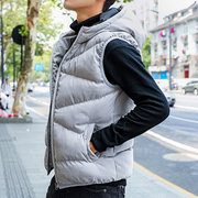 Winter Thick Solid Color Hooded Warm Vest Down Coat for Men