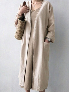 Solid Color Cotton Long Sleeve Cardigan