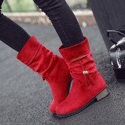 Замшевые ботинки на толстом каблуке