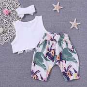3PCS Floral Summer Girl Vêtements Set Top + Pantalon + Bandeau tenues pour 0-24 M