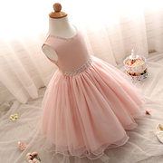 Girls Rhinestones Bridesmaid Wedding Pageant Long Princess Dresses For 6M-8Y