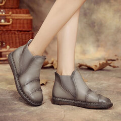 SOCOFY Genuine Leather Retro Pure Color Slip On Ankle Short Boots