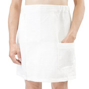 Men Solid Color Comfy Cotton Bathrobe Beach Towel Skirts Knee-length Stretch Waist