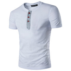 Mens Round Collo Pulsanti manica corta primavera estate casual