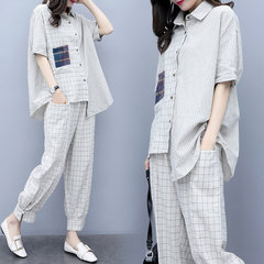 Plaid Suit Donna Stagione New Fashion Casual Allentato Large Size Nine Pants Trendy Style Two-piece Female