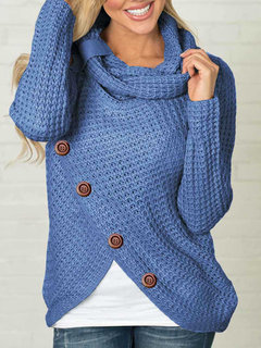 Solid Color High Neck Irregular Button Sweater
