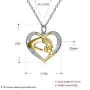 925 Sterling Silver Necklaces Mom Loves Baby Hand in Hand Zircon Pendant Necklace Mother's Day Gift