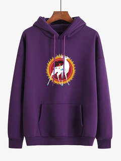 Casual Print Deer Pocket Hooded Sweatshirt