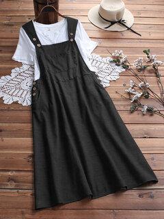 Винтаж Карман деревянный Кнопки Сплошной цвет Общий Платье