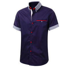 Stylish Slim Fit Formal Short Sleeve Casual Suits Dress Shirt Tops for Men