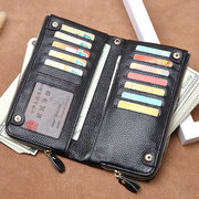 Genuine Leather Women Men Long Wallet Clutch Card Holder Phone Bag Purses