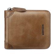 Vintage Genuine Leather Zipper Coin Pocket Driver License Trifold Wallet For Men