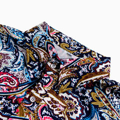 Mens Vintage Floral Printed Short Sleeve Turn Down Collar Loose Shirts