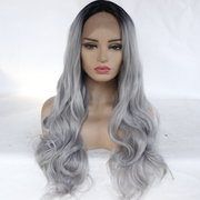 Black Gradient Gray Long Curly Hair Wig Big Wavy Volume Chemical Fiber Front Lace Wig