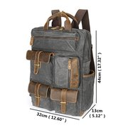 Vintage Large Capacity Genuine Leather Canvas Outdoor Travel Backpack For Men