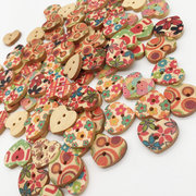100 Pcs Heart Wooden Sewing Buttons 18*16mm Colorful Printed Fastness Washable Buttons DIY Handcraft