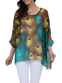 Beach Printed Chiffon Sun Protective Cover Up Blouse