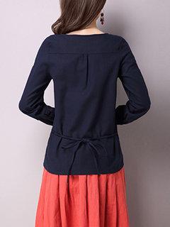 Casaco bordado casual Gravata traseira de manga comprida T-shirts de manga curta