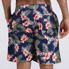 Verão Havaiano Fino Loose Secagem Rápida Joelho Comprimento Flor Impressão Praia Curto para Homens
