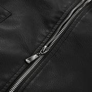 Bolsos de zíper preto quente PU couro jaqueta de motoqueiro para homens