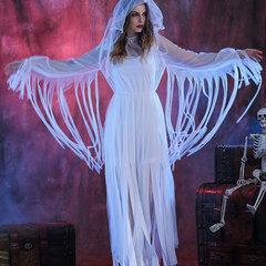 هالوين أشباح بيضاء العروس تأثيري الرباط شبكة اللباس ازياء للنساء