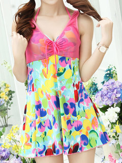 Sexy Floral Sleeveless Soft Push Up Colorful Swimdress For Women