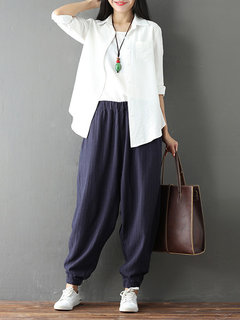 Casual Pocket Elastic Waist Harem Pants For Women