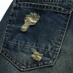 Indigo Summer Holes Worn Stone Washed Knee Lunghezza Jeans per Uomo