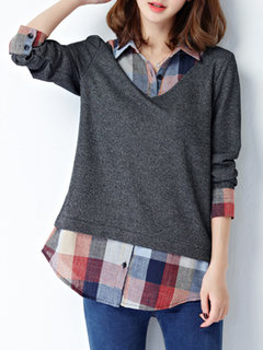 Casual Women Plaid Stitching Lapel Fake Two-Piece Blouse