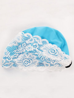 Waterproof PU Lace Professional Swimming Cap For Women
