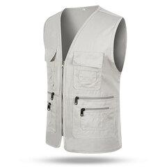 Veste cargo de volontaire décontracté de plein air de pêche à multi-poches à col en V pour homme