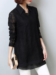 Casual Women Crochet Long Sleeve Lapel Fake Two-Piece Lace Tops