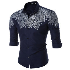 Formal Casual Slim Fit Printing Long Sleeve Turn Down Cololar Designer Dress Shirt for Men