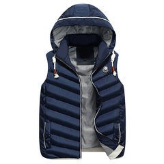 Thicken Solid Color Slim Fit Sport Casual Hooded Vest Coats for Men