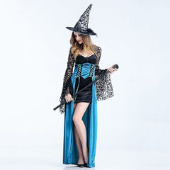 Halloween Sexy Lace Long Sleeve Witch Cosplay Dress Costumes For Women
