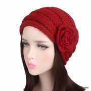 Womens Ethnic Wool Flowers Knitted Hat Beanie Hat Vintage Good Elastic Warm Winter Turban Caps