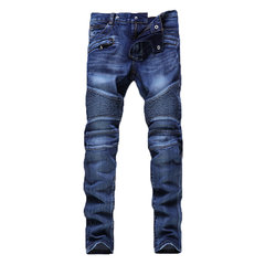 Biker Stylish Light Blue Stitching Falten Mid Rise Washed Slim Jeans für Herren