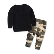 Print Boy Cotton Long Sleeve T-shirt Camouflage Pant Clothing Set For 0-24M