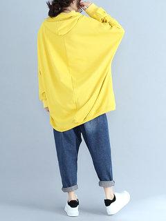 Casual sólido encapuchado bolsillo cordón manga larga camiseta para mujer