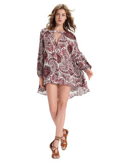 Casual Paisley Printed V-Neck Long Sleeve High Low Tops For Women