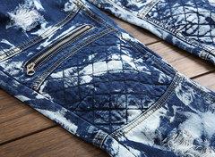 Tasche con cerniera blu rugosa Benim consumate Jeans da uomo