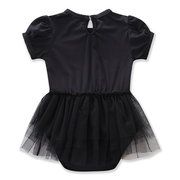 Lovely Baby Girls Rompers Embroidered Mesh Bow Black Dress For 0-24M