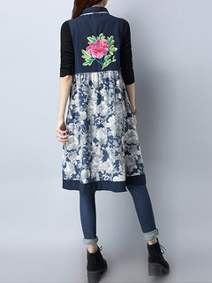 Vintage Patchwork Embroidery Women Thick Jumper Dresses Coats