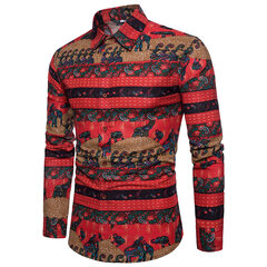 Mexican Print Linen Casual Fashion Long Sleeve Spread Collar Shirt For Men
