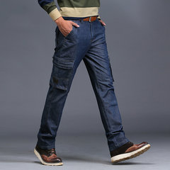 Casual Blue Washed Mid Taille Multi Pockets Straight Cotton Jeans für Herren